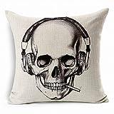 L'éditeur (TM) crâne Beige chaud (17,7 X 17,7 cm Punk Imprimé tête de mort squelette Housse Ceinture de soutien lombaire pour chaise de voiture Hug Housse de canapé Hug Taie d'oreiller