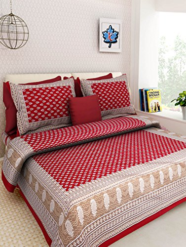 Fashion Dziner Cotton Jaipur Prints Rajasthani Tradition King Size Bed Sheet with 2 Pillow Cover (Multicolour,Double)