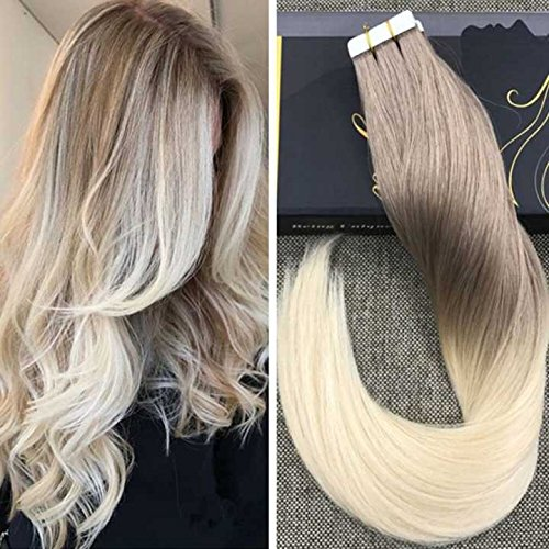 Ugeat 20pcs High Quality Haar Extensions Echthaar 35cm Glatt 100% Echte Menschliche Haarverlangerungen 50g Piano Color Ash Brown with Lightest Blonde #18/60