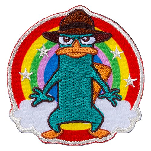 Minoda Phineas and Ferb emblem large Iron & seal amphibious Rainbow - large D01Y5955
