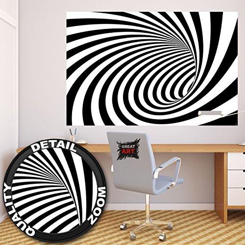 3D tunel blanco-negrofotomurales decoración de la pared de by GREAT ART (140 x 100 cm)