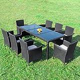 RedNeck Gartenmöbel Set 8er Sitzgruppe Dining Exclusive Schwarz Polyrattan Alu mit Schwarzglas