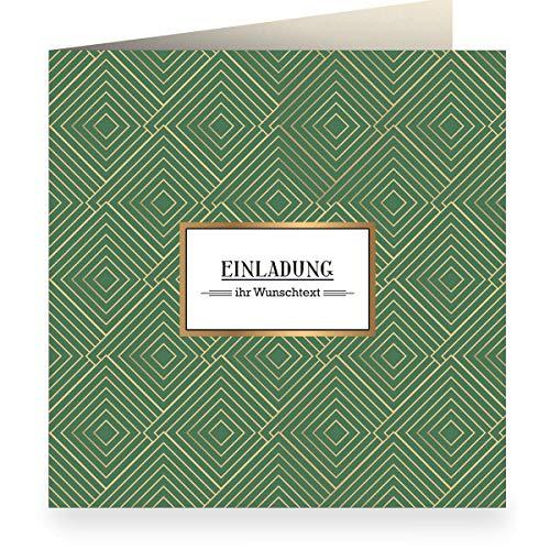 3er Set: Edle grafische Einladungskarte mit Wunschtext, grün zur Hochzeit, Taufe, Geburtstag mit Innendruck (quadratisch 15,5cm + Umschlag) mit Art Deco Muster: Einladung - Freunde, Familie