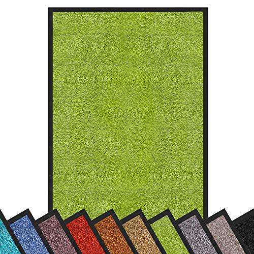 Schmutzfangmatte Rhine | schadstoffgeprüft | waschbare & extra leistungsstarke Fußmatte | Sauberlaufmatte mit Rutschfester Rückseite | Türmatte in vielen Größen & Farben (90x120 cm, Grün)