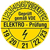 Labelident Prüfplaketten - Elektro-Prüfung/Geprüft gemäß VDE/Blitzsymbol, Mehrjahresprüfplakette, Zeitraum 2019-2023, Ø 20 mm, 216 Stück, Vinylfolie gelb, Aufdruck schwarz