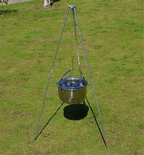 Stand Hält 12 Cues (Holzsammlung BBQ Dreibeingestell mit Kette und Haken Tripod Grill komfortabler Tragetasche - Silber 110cm Höhe)
