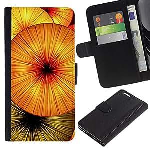 UberTech / Apple Iphone 6 PLUS 5.5 / Orange Fruit Abstract Kiwi Umbrella / PU Leder Schlank Brieftasche Kreditkarte Case Cover Schwarz Kunststoff Case Cover Shell Rüstung Hü