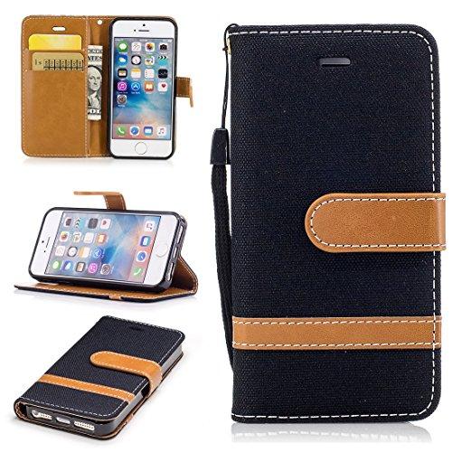 Nancen Wallet Case Hülle für Apple iPhone 5 / 5S / SE (4 Zoll) ,länglich-Taste Magnet ,Muster Flip Funktion Kartenfächer Etui ,Schütze Dein Telefon
