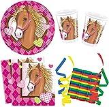 Horses Pferde 39-teiliges Kindergeburtstag Party Deko Set Basis Motto Fete Feier 8 Teller, 8 Becher, 20 Servietten, 3 Rollen Luftschlangen