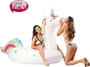 Infinitoo Gonfiabile Gigante Unicorno Giocattolo di galleggiamento gonfiabile gonfiabile del letto del PVC dei bambini del PVC della zattera di materasso gonfiabile dello stagno con le valvole rapide