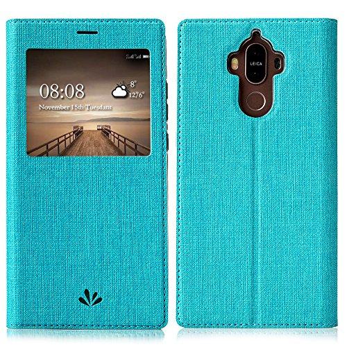 Feitenn Huawei Mate 9 Hülle, dünne Premium PU Leder Flip Handy Schutzhülle mit dem Ansichtsfenster | TPU-Stoßstange, Magnetverschluss und Standfunktion Brieftasche Etui (Blau)