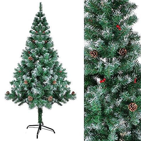 SunJas Weihnachtsbaum mit Tannenzapfen, 150 cm, verschiedene Farben und Größen, künstlicher Weihnachtsbaum, beschneiten Spitzen und Kunsttanne mit Metallständer, hochwertiger Christbaum, grüne Tannenbaum, Material PVC, Klappsystem und schneller Aufbau, Kiefernzapfen, leichte Krippe mit dem Jesuskind platziert zu dekorierten
