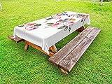 Yeuss Rose Tischdecke Outdoor, Vintage Blumensträuße mit Englisch Rosen Wildblumen Botanical Summer Time, Natur Deko Waschbar Picnic Tischdecke, Multicolor, 132,1x 177,8cm, 52