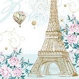 Ambiente de servilletas con diseño de: diseño de París Toujour, diseño de torre Eiffel, de la bandera de Francia - 20 unidades por paquete de servilletas de papel, 33 x 33 cm