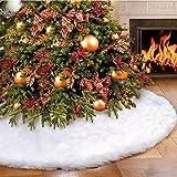 Tenrany Home Peluche Jupe Arbre de Noël, Blanc Neige Luxe Fausse Fourrure Couvre-Pied de Sapin White Christmas Tree Skirt pour Fête Noël Vacances Décorations (30.7' (78cm))