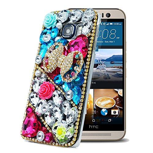 HTC One M9 Hülle Sense TE Strass [3D Handgefertigt] Diamant Serie [Bunt Bowknot Blumen Herz] Bling Schutz Handy Tasche Kristall Transparent Case klar Cover Hülle für HTC One M9 mitRetro Anti Staub Stecker