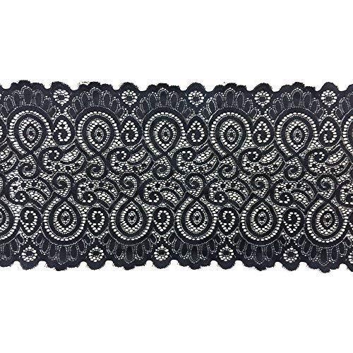 Trimming Shop Dehnbar Elastisch Band Baumwolle Polyester Braut Spitze für Kopfband Babys, 3 Meter X 18cm -