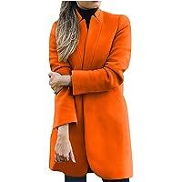 Autunno e Inverno Moda Donna Elegante Taglie Forti Cappotto di Lana Tinta Unita Collo in Piedi Stand Sottile Cappotto di…