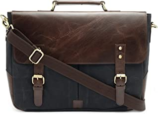 The House Of Tara Leather and Canvas Office/Laptop Bag (Dark Tan-Raven Black)