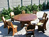 Table-de-jardin-ronde-en-chne-massif-ou-pica-pour-8-personnes--Rustique-des-meubles-de-jardin-La-main