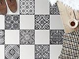 Dekofliesen, Badezimmerfliesen | Bodenfliesen Sticker Aufkleber Folie Bad Küche Kühlschranksticker Baddeko | 32,5x32, Muster Ornament Black n White - 9 Stück