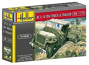 Heller - 79997 - Maqueta para Construir - US 1/4 Ton Truck & Trailer - 1/72