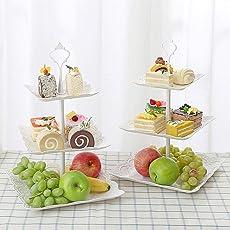 Seasaleshop 3-Stöckig Etagere Weiß Obstteller Gebäckschale Cupcake Ständer Dessert Ständer Törtchen Gebäck Muffin Obst Halter für Party, Geburtstag, Hochzeit, Weihnachten by