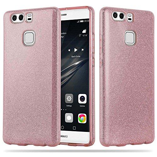 Preisvergleich Produktbild Cadorabo Hülle für Huawei P9 - Hülle in Sternenstaub PINK – TPU Silikon und Hardcase Handyhülle im Glitzer Design - Hard Case TPU Silikon Schutzhülle