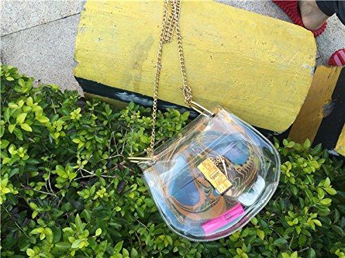 Zarapack sacchetto trasparente in PVC trasparente pochette da donna con interno ologramma borsa a tracolla borsetta spalla, Style 2 (Trasparente) - BA922 Style 2