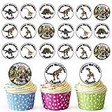 Vorgeschnittener Personalisierter Dinosaurier Mix - Essbare Cupcake Topper / Kuchendekorationen (24 Stück)