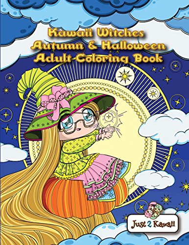 n & Halloween Adult Coloring Book: An Autumn Coloring Book for Adults & Kids: Japanese Anime Witches, Cats, Owls, Fall Scenes & Halloween Festivities ()