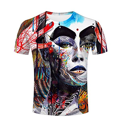 Unisex Men 3D Shirts Girl Body Painting Printed Lingshirt Graphics Tees S (Tee Long Printed Sleeve Spandex)