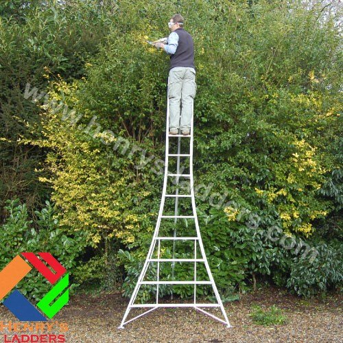 Henrys Tripod Garden Ladders with built-in Platform by Henchman - 3.00m -3.6m. 10' Ladder. All 3 Legs Fully Adjustable. Lightweight aluminium garden maintenance, hedge cutting, tree pruning, fruit picking, topiary ladder.