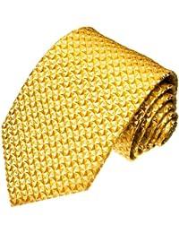 LORENZO CANA - Cravate en soie italienne 100% soie doré jaune d'or 84060