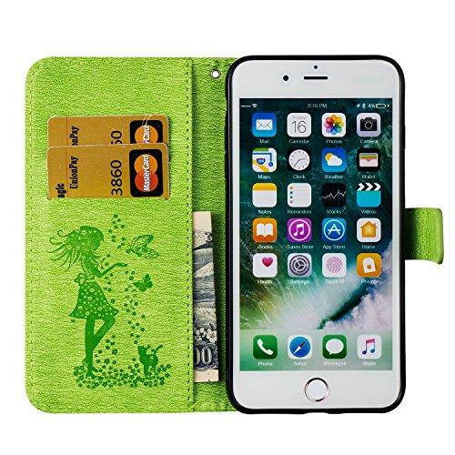 EKINHUI Case Cover Für Apple iPhone 7 Plus Fall Abdeckung, geprägtes Mädchen Muster Strass Premium TPU / PU Leder Geldbörse Flip Stand Case mit Halter & Lanyard & Card Slots ( Color : Blue ) Green
