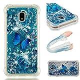 E-Mandala Samsung Galaxy J5 2017 Hülle Glitzer Flüssig Liquid Glitter Case Cover Handyhülle Schutzhülle Transparent mit Muster Durchsichtig Tasche Silikon - Blumen Schmetterling Lila
