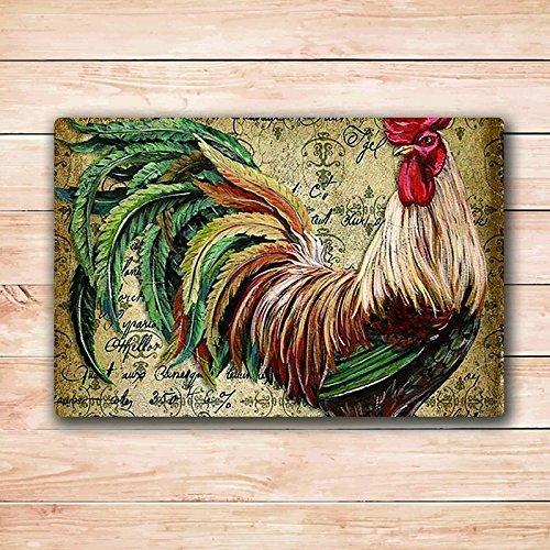Vintage Retro Chicken Deign Door Mat Rug Inide Rectangle Fußmatte Fußmatte Rug 23.6''(L) x 15.7''(W)