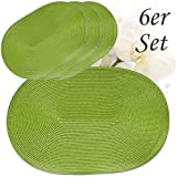 matches21 Tischset Platzset Platzmatten 6er Set grün oval gewebt Kunststoff 46x30 cm
