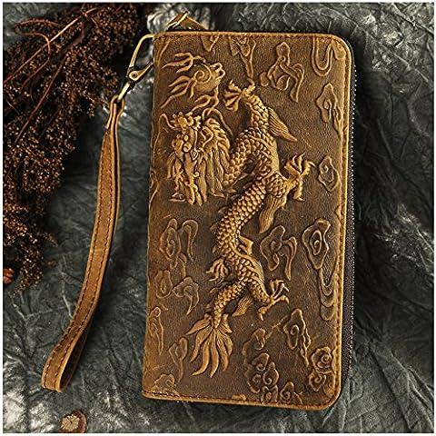 Le 'aokuu Pour Homme en Cuir Véritable Sac d'embrayage à main de Portefeuille Porte-monnaie Carte étui Case de Téléphone Pour Chéquier Dragon en Relief Pochette 1016 (1016 marron-dargon)