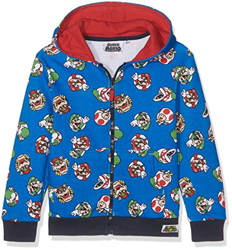 Super Mario Bros Chicos Chaqueta sudadera con capucha - Azul - 140