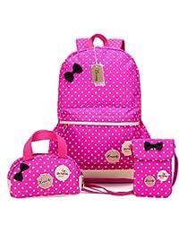 Bcony Conjunto de 3 Dot lindo Las mochilas escolares universidad/bolsas escolares/mochila niños niñas adolescentes + mini bolso + bolso crossbody,Rosa Roja