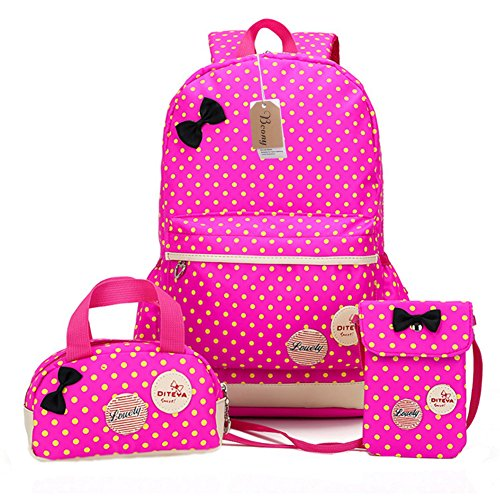 Imagen de bcony conjunto de 3 dot lindo las  escolares universidad/bolsas escolares/ niños niñas adolescentes + mini bolso + bolso crossbody,rosa roja