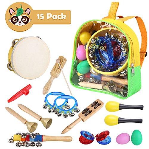 MVPOWER Musikinstrumente Rhythm Toys Set Percussion Set 15 Stück Früherziehung Musik Kinderspielzeug für Kleinkinder Holz Instrumentenset für Kinder mit Tragetasche (Rhythm Toys Set)