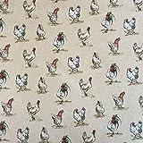 Vintage Tiere Hühner Baumwolle Rich Leinen Look Stoff für Vorhänge Jalousien Craft Quilting Patchwork & Upholstery 139,7cm 140cm breit, Meterware,