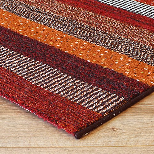 Woodstock Stripes Rug 32743-1382 Red, Blue, Cream, Green & Orange Multi Coloured 1.6m x 2.3m (5'3 x 7'6 approx)