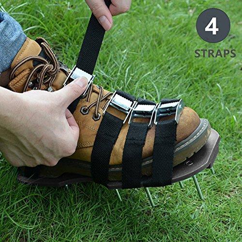 GKANGU Upgrade 4 Riemen Rasenbelüfter Schuhe Garten Spiked Sandalen