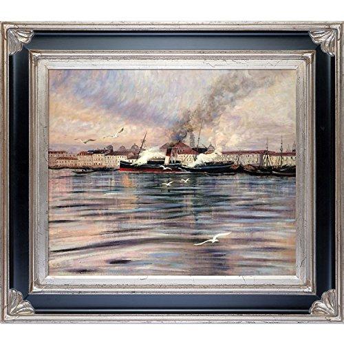 1895 Öl (overstockart View von Venedig, 1895von Giovanni Boldini handbemalt Öl mit Corinthian Silber Rahmen)