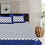 Pure Comfort 100% Cotton Supreme Quality Super King Size Double Bedsheet With 2 Zippered Pillow Covers - Abstract, Blue