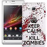 Etui de créateur pour Sony Xperia SP - Etui / Coque / Housse de protection blanc en Plastique Rigide (arrière rigide) avec motif Keep Calm and Kill Zombies (blanc et rouge)
