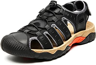 Eisrumu Walking Sandals Mens Outdoor Hiking Sandals Womens Beach Barefoot Adjustable Trekking Shoes with Closed-Toe Casual Shoes for Unisex-adults
